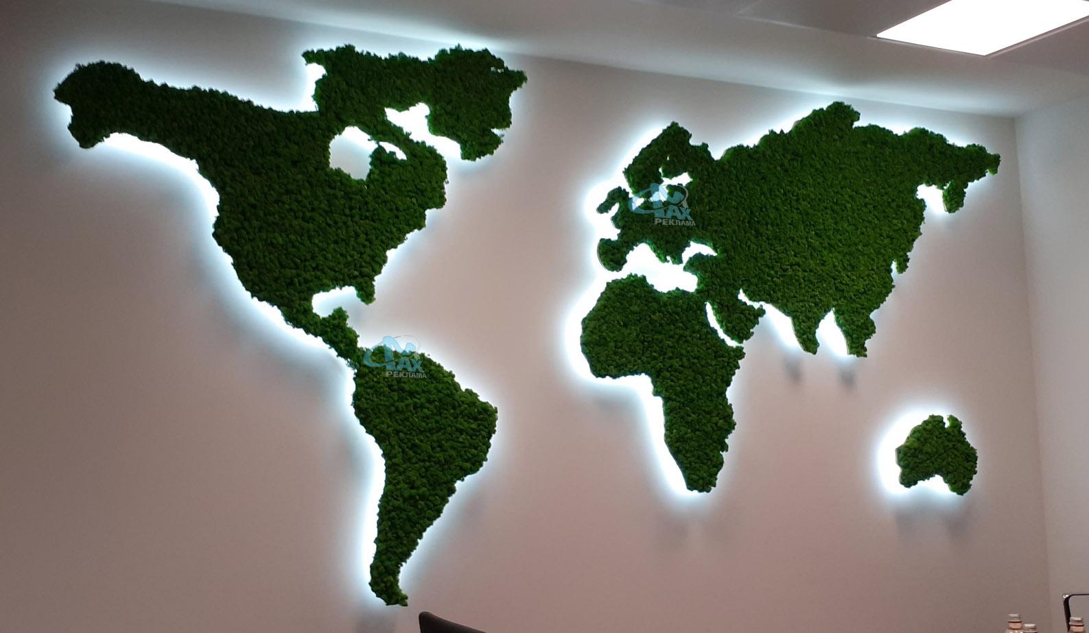 зелени рекламни интериорни елементи